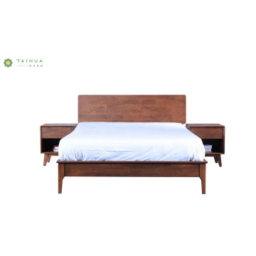 Dark Walnut Bedroom Furniture Adult Wood Bed Set